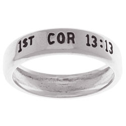 Carolina Glamour Collection Faith Love and Hope' Followed by '1st Cor 13:13' Silver Ring - Thumbnail 1