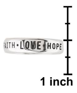 Carolina Glamour Collection Faith Love and Hope' Followed by '1st Cor 13:13' Silver Ring - Thumbnail 2