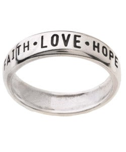 Carolina Glamour Collection Faith Love and Hope' Followed by '1st Cor 13:13' Silver Ring