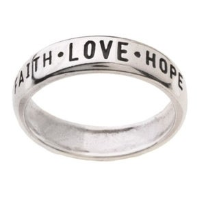 Faith Love and Hope' Followed by '1st Cor 13:13' Silver Ring (Option: 9)