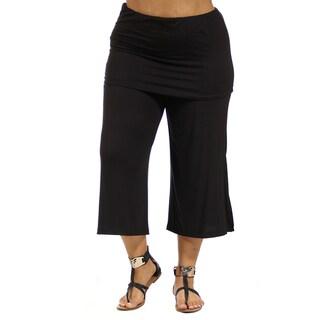 24/7 Comfort Apparel Women's Elastic-Waist Plus Size Stretch Capri Pants