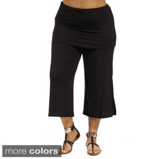 24/7 Comfort Apparel Women's Elastic-Waist Plus Size Stretch Capri Pants