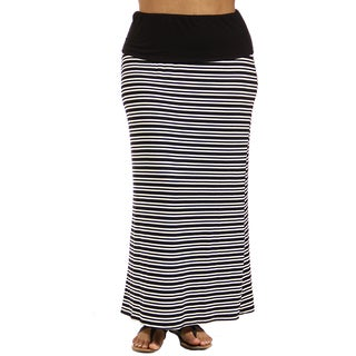 24/7 Comfort Apparel Women's Black and White Stripe Plus Size Fold-Over Maxi Skirt
