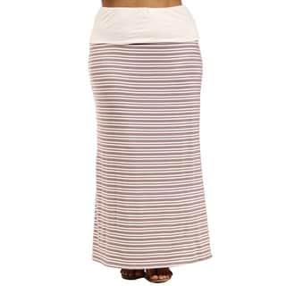 24/7 Comfort Apparel Hazel Stripe Printed Plus Size Fold-Over Maxi Skirt