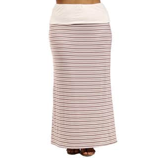 24/7 Comfort Apparel Hazel Stripe Printed Plus Size Fold-Over Maxi Skirt