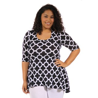 24/7 Comfort Apparel Women's Plus Size Abstract Print High Low Tunic