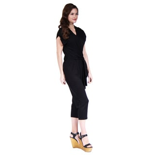 24/7 Comfort Apparel Women's Short Sleeve Front-Tie Jumpsuit