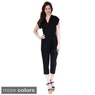 24/7 Comfort Apparel Women's Short Sleeve Front-Tie Jumpsuit (Option: Brown)