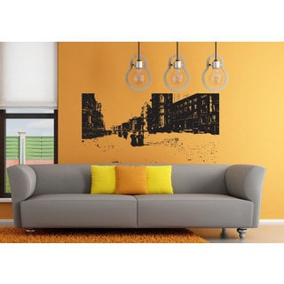 Old NY Skyline New York City Sticker Vinyl Wall Art