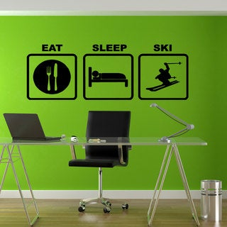 Eat Sleep Ski Sticker Vinyl Wall Art