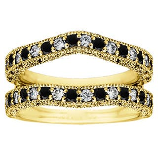 TwoBirch Yellow Plated Sterling Silver Black and White Cubic Zirconia Vintage Ring Guard