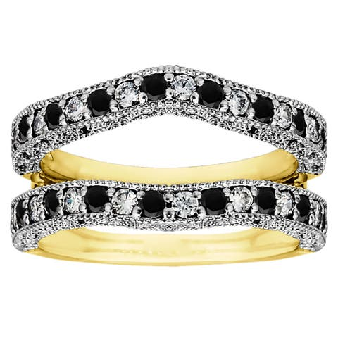 TwoBirch Two-tone Sterling Silver Black and White Cubic Zirconia Vintage Ring Guard