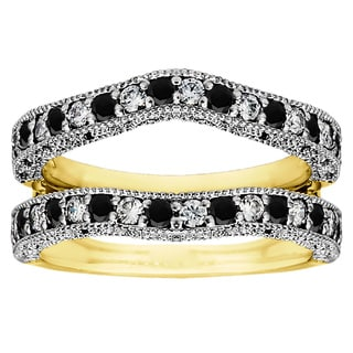 Two-tone Sterling Silver Black and White Cubic Zirconia Vintage Ring Guard