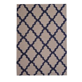 Herat Oriental Indo Hand-tufted Contemporary Design Beige/ Navy Wool Rug (5' x 7')