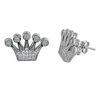Decadence Sterling Silver Micropave Crown Stud Earrings with Cubic Zirconia