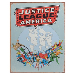 Vintage Metal Art Decorative 'Justice League Retro' Tin Sign