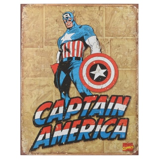 Vintage Decorative 'Captain America Retro Panels' Pre-punched Metal Art Sign