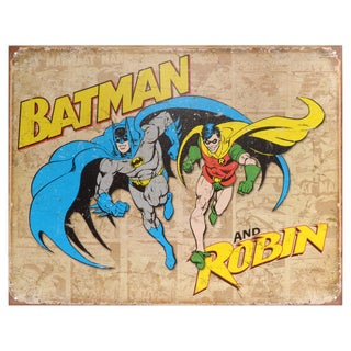 Vintage Metal Art Decorative 'Batman & Robin Weathered' Tin Sign