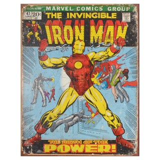 Vintage Metal Art Decorative 'Iron Man Comic Cover' Tin Sign