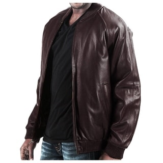 Brown Leather Bomber Jacket with Zip-out liner