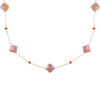 14k Yellow Gold Faceted Clover-shaped Moonstone Station Necklace