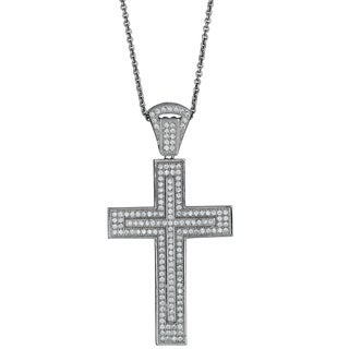Decadence Sterling Silver Micropave Fancy Cross Pendant with Cubic Zirconia