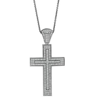 Decadence Sterling Silver Micropave Fancy Cross Pendant with Cubic Zirconia|https://ak1.ostkcdn.com/images/products/9998575/P17148057.jpg?impolicy=medium
