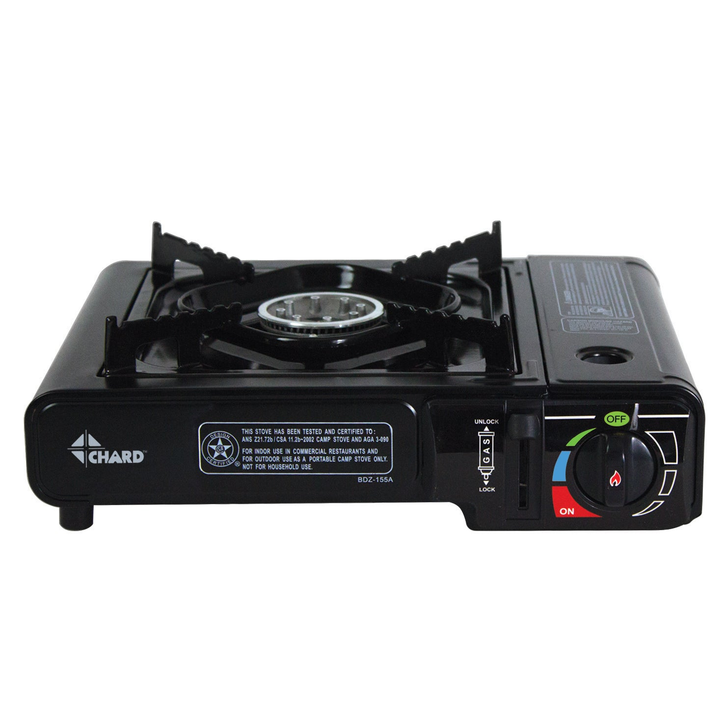 Chard Single Burner Butane Stove (SBBCS85), Black