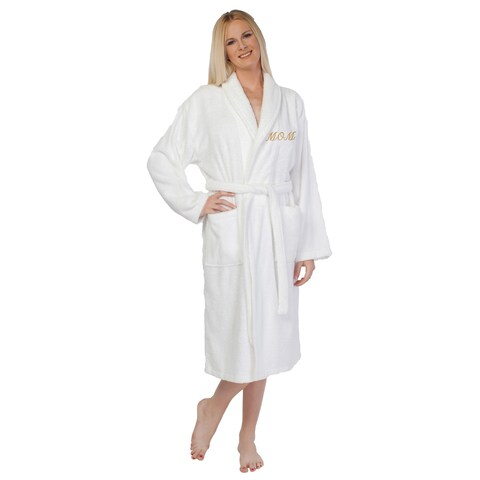 Authentic Hotel and Spa Embroidered 'Mom' Terry Cloth Turkish Cotton Bath Robe