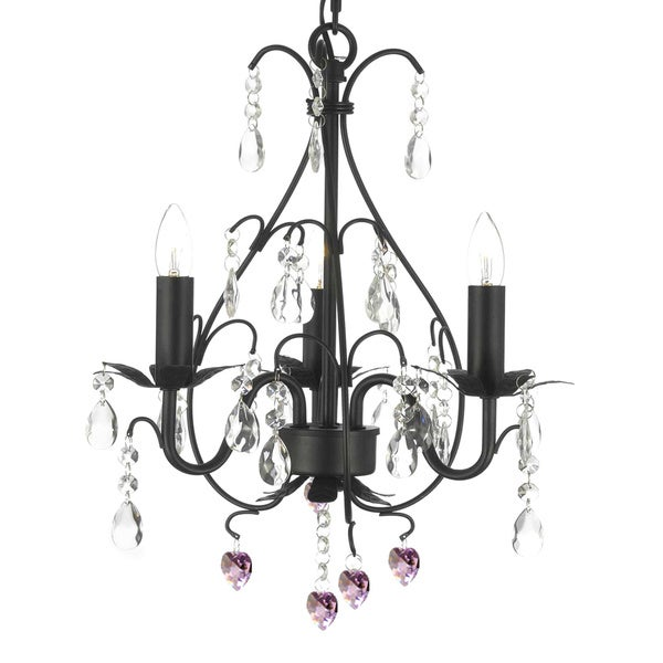 Wrought Iron And Crystal 3 Light Swag Plug In Chandelier With Pink Hearts