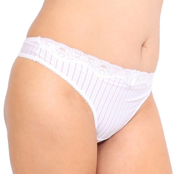 Prestige Biatta Plus Size White Microfiber Sheer Striped Thong