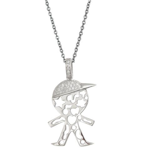 Decadence Sterling Silver Micropave Little Boy Cutout Pendant with Cubic Zirconia