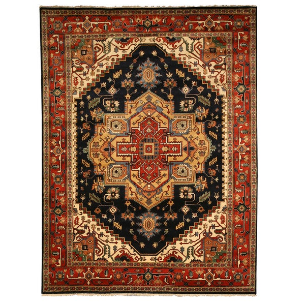 Hand-knotted Wool Navy Traditional Oriental Serapi Rug (10' x 14') - 10' x 14'