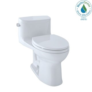 Toto Supreme II One-Piece Elongated 1.28 GPF Universal Height Toilet with CeFiONtect, Cotton White (MS634114CEFG#01)