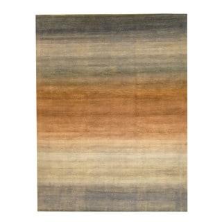 Herat Oriental Indo Hand-knotted Tibetan Brown/ Ivory Wool Rug (9' x 12')