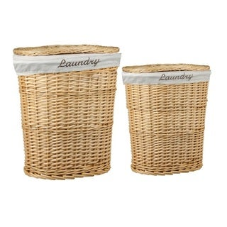 Home Basics Natural 2-piece Wicker Hamper with Liner
