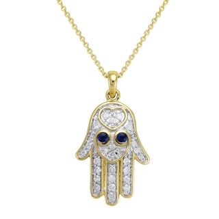 Beverly Hills Charm 10K Gold 1/5ct. TDW Diamond and Blue Sapphire HAMSA Necklace (H-I, I2-I3)