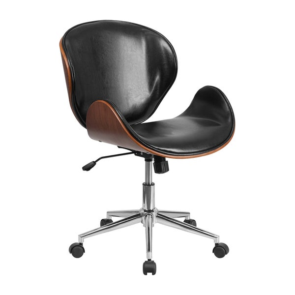 Offex Mid Back Wood Swivel Conference Chair In Leather