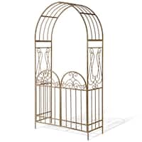 National Tree Company 93-inch Metal Arch with Gate - Rust