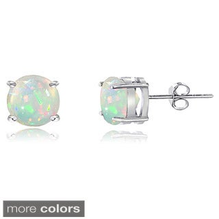 Glitzy Rocks Sterling Silver 4 mm Ethiopian Opal Stud Earrings - White