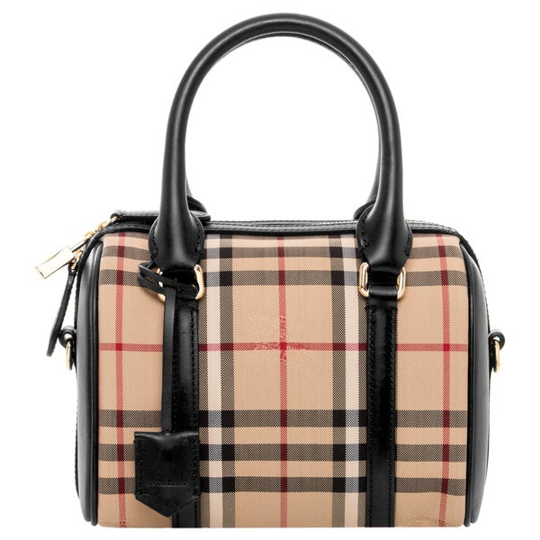 Burberry Small Alchester Black Horseferry Check Satchel Handbag