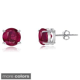 Glitzy Rocks Sterling Silver 4mm Glass-filled Ruby Stud Earrings