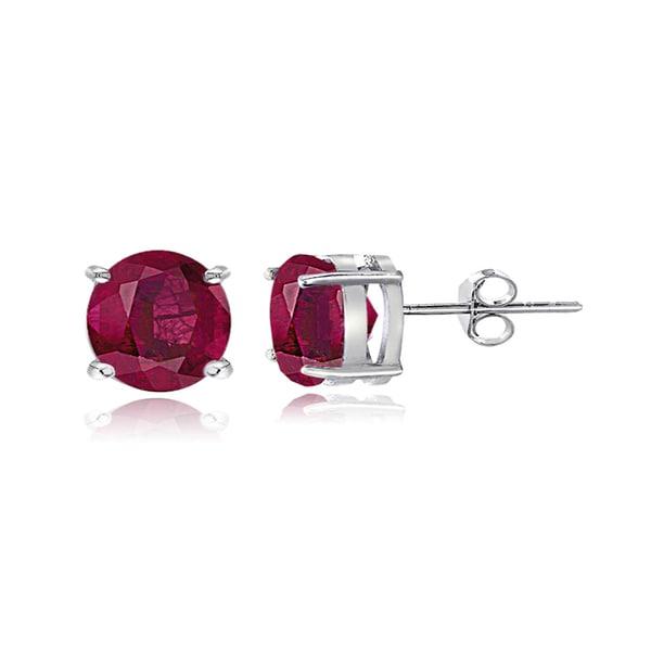 Glitzy Rocks Sterling Silver Glass-filled Ruby Stud Earrings