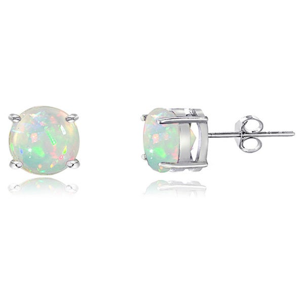 Glitzy Rocks Sterling Silver Ethiopian Opal Stud Earrings - White