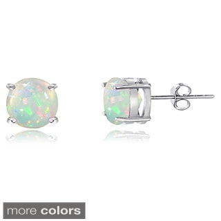 Glitzy Rocks Sterling Silver Ethiopian Opal Stud Earrings