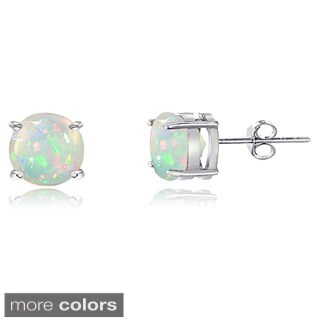 Glitzy Rocks Sterling Silver Ethiopian Opal Stud Earrings - White