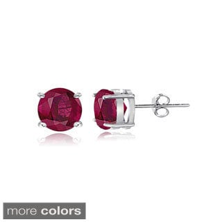 Glitzy Rocks Sterling Silver 1 1/5ct Glass Filled Ruby Stud Earrings, 5 mm