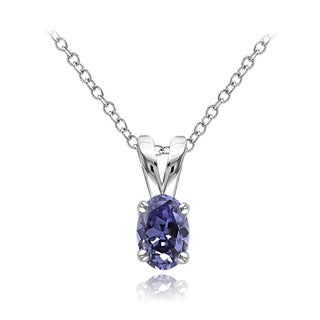 Glitzy Rocks Sterling Silver 2/5ct TGW Tanzanite Solitaire Oval Necklace
