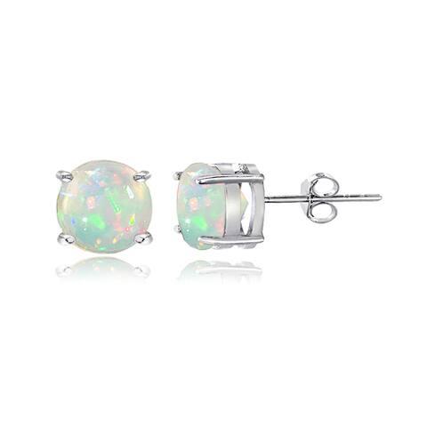 Glitzy Rocks Sterling Silver 1 1/10ct Ethiopian Opal Stud Earrings, 6 mm