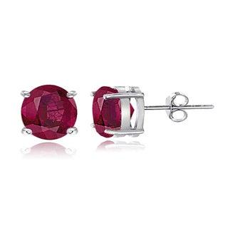 Glitzy Rocks Sterling Silver 7mm Glass-filled Ruby Stud Earrings